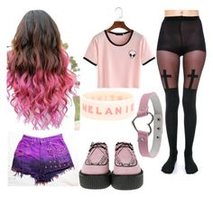 """""""Pastel Goth"""" by becauseamazingness ❤ liked on Polyvore featuring Levi's, Leg Avenue and T.U.K."""