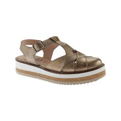 Women's Wonders A-3912 T Strap Flatform Sandal - Zincato Oro Platinum... ($209) ❤ liked on Polyvore featuring shoes, sandals, casual, platform shoes, flatform sandals, closed toe shoes, t strap sandals, multi color sandals and platform sandals