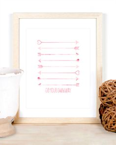 Watercolor Arrows Go Your Own Way Bright Pink Pale Pink Nursery Simple Baby Kid Children's Room Gift Inspiration Motivation Custom Colors by CheekyAlbi, $12.00