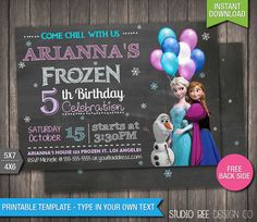 Frozen Invitation  85% OFF  INSTANT DOWNLOAD  Printable