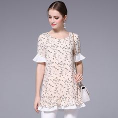 YUS large size 2017 summer women blouse half sleeve ruffle decorated print o-neck patchwork loose cotton shirt women tops Summer Tops, Half Sleeves, Fashion 2017, Fashion Prints, Shirts, Tees, Blouses For Women, Chiffon, Tunic Tops