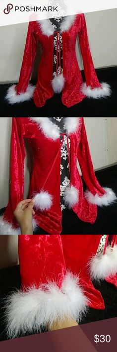 Christmas Cardigan 🎄 Festive Christmas cardigan with trim of white feathers along ends, the material is so pretty and soft, bright red velvet material is stretchy fits perfectly to a Small-Medium. Preowned only used once. Like new!!! Great for the Holidays. Tops