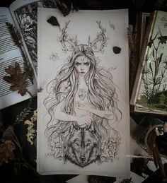 """Illustration Moon """"There is something moon soaked and dawn flavored about her…. Illustration Moon """"There is something moon soaked and dawn flavored about her. Something kissed … Badass Tattoos, Body Art Tattoos, Tattoo Drawings, Art Drawings, Badass Drawings, Drawing Faces, See Tattoo, Tatoo Art, Tatouage Artemis"""