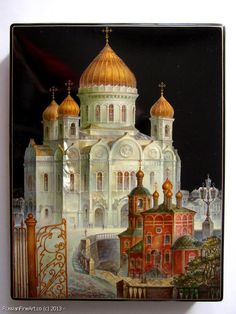 "Monashov Vladimir ""Church Of Christ Of Srvivor"" - box, Fedoskino lacquer painting technique. $2025.00"