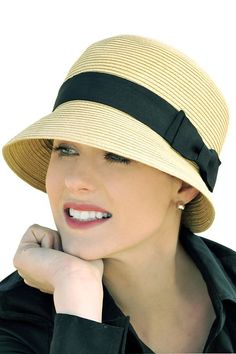 April Cloche Hat - Straw Sun Protection Hat for Women, Vintage Headwear Look, Fashionable Women's Hats, Chemo, Cancer, Alopecia