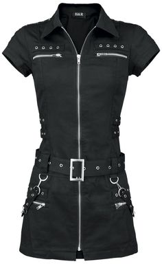 Original H&R - Black Zip Dress Black bondage mini dress with a continuous zipper on the front. - studs and zipper details - with detachable bondage straps - length approx. 80 cm How about a performance as sexy cop? With this Black Zip Drees, the HR London designers have come up with the perfect equipment for a red-hot look. The short dress has a continuous zipper and is decorated with studs and straps.