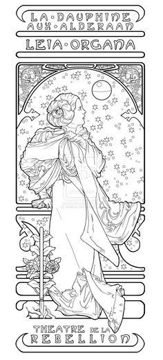 alphonse mucha coloring pages bing images - Art Nouveau Unicorn Coloring Pages