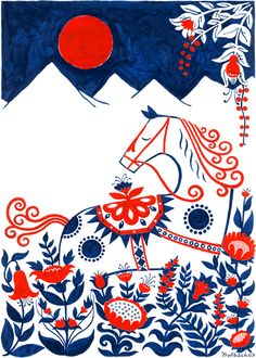 Dala Horse poster by Henning Trollback.  The Dala Horse is a Swedish national symbol based on traditional toy horses from Dalarna decorated with traditional floral kurbits patterns