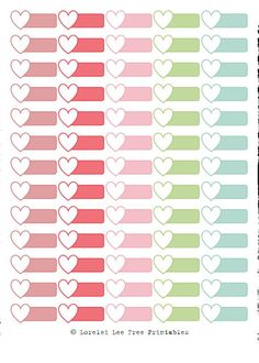 Heart Labels - Pastel colors - Free planner printables