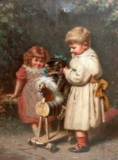 Two Children Putting Cat On Wooden Rocking Horse by Edwin Thomas Roberts {1840~1917, English}