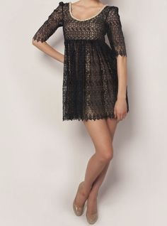 @Sahar Dada Navy French Lace Dress on www.trendseeder.com