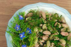 Borlotti bean salad with sweet fennel green 200 Calories, Bean Salad, How To Squeeze Lemons, Summer Evening, Fennel, The Fresh, Vegan Vegetarian, Asparagus