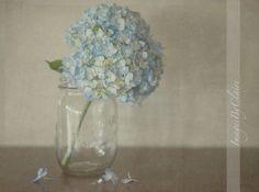 pale blue hydrangea in a ball jar