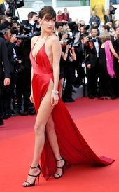 Bella Hadid in Alexandre Vauthier with Giuseppe Zanotti shoes and de Grisogono jewels attends The Unknown Girl Premiere The model kills it in this slinky, red, satin slit dress from designer Alexandre Vauthier. Sexy Outfits, Sexy Dresses, Beautiful Dresses, Nice Dresses, Fashion Dresses, Prom Dresses, Celebrity Dresses, Celebrity Style, Look Fashion