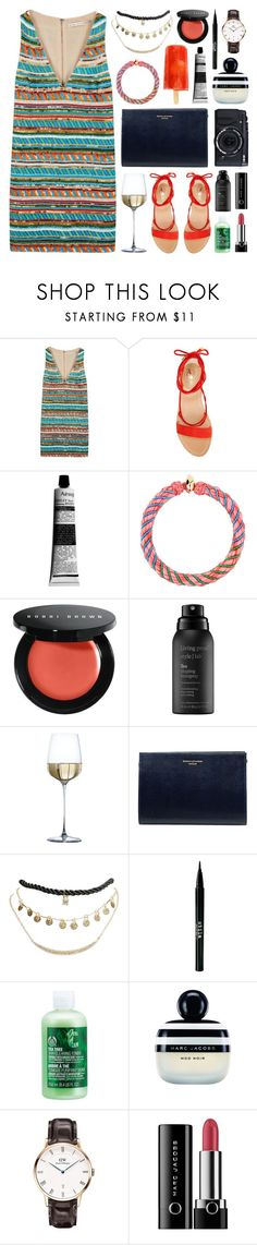 """""""Valencia Stripes"""" by sophiehackett ❤ liked on Polyvore featuring Alice + Olivia, Vince Camuto, Aesop, Fujifilm, Aurélie Bidermann, Bobbi Brown Cosmetics, Living Proof, Aspinal of London, Wet Seal and Stila"""