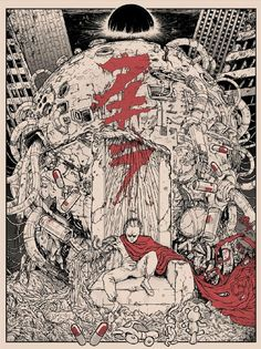 """Tetsuo Wins"", an incredible illustration & print by the dude Godmachine, for the Bottleneck Gallery show ""Alternate Endings"" (this one is Akira for the uninitiated). This guy makes me want to just throw my Wacom out the window sometimes. Bd Comics, Anime Comics, Art And Illustration, Les Gremlins, Akira Poster, Manga Art, Anime Art, Rock Poster, Cyberpunk Kunst"