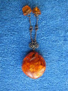 Natural Baltic amber 37 gr cognac big pendant amulet charm 琥珀 USSR Russia jewels #HandMade