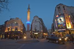 """Plunge, a project from artist Michael Pinsky, features blue LED lights placed around prominent central London monuments, with each light marking the sea level 1,000 years from now (92 feet above sea level using a """"business as usual"""" scenario). Remember: this kind of rapid sea-level rise could happen sooner. We just don't know."""