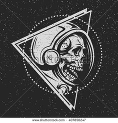 Dead astronaut in spacesuit and geometric element. On dark background.