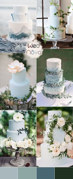 The wedding cakes in dusty blue and green dusty blue wedding theme Wedding Flower Guide, Blue Wedding Dresses, Wedding Cakes With Flowers, Beautiful Wedding Cakes, Green Wedding Cakes, Beautiful Flowers, Wedding Bouquets, Steel Blue Weddings, Dusty Blue Weddings