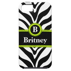 Zebra Print and Lime Green Lace iPhone 5 / 5S cover with a Monogram and Name. Just replace our text with your own to make it uniquely yours.