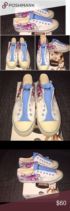 Ed Hardy Sneakers Women Style- 17LR602W Color- white/ blue Ed Hardy Shoes Sneakers