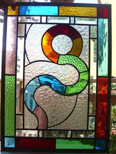 "Stained Glass  ""Pathways"" Panel Leaded Window"