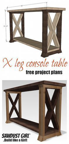 Pallet Table Plans - This BoX Leg Console Table is a variation of my two-toned console table. This one with a large X in the box legs. The X's are a fun addition. Diy Home Decor Rustic, Easy Home Decor, Diy Wood Projects, Home Projects, Diy Wood Crafts, Sweet Home, Diy Casa, Entryway Tables, Wood Tables