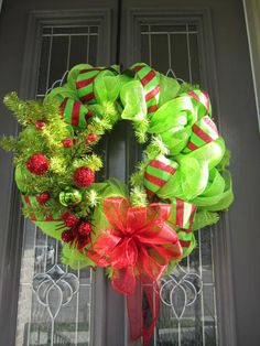 24 MESH CHRISTMAS WREATH decorated in Lime Green by partiesgalore, $55.00