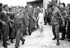 GOOD MORNING, VIETNAM - Ann-Margret is welcomed by troops upon her arrival for a USO show
