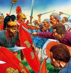 Gallic warriors charging into a Roman shield wall