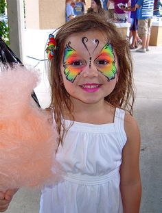 Face painting butterfly. Pretty Neon! face painting ideas for kids