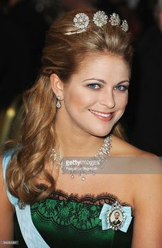 Princess Madeleine of Sweden poses during the Nobel Foundation Prize Banquet 2009 at the Town Hall on December 10, 2009 in Stockholm, Sweden.  (Photo by Pascal Le Segretain/Getty Images)