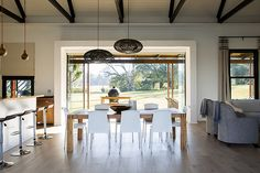 Rockwood Farmhouse is set on Spitzkop Farm, on the doorstep of the extraordinary natural gem that is the Karkloof Nature Reserve. Open House Plans, Kwazulu Natal, Rental Property, Contemporary Architecture, Farm Life, Glass Door, Living Area, Dining Table, Farmhouse