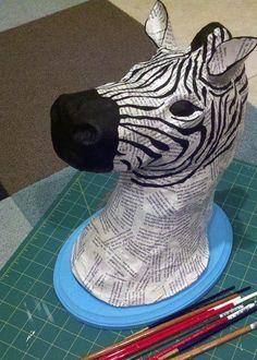 DIY Zebra Paper Mache by a Sharper Focus using lilblueboo.com tutorial!