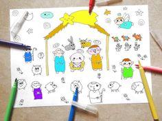 presepe natività pagina da colorare bambini carini kawaii natale baby adulti stampare instant download disegno digitale lasoffittadiste