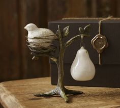 Partridge in a Pear Tree Salt & Pepper Shakers | Pottery Barn Waited too long to get these last year!
