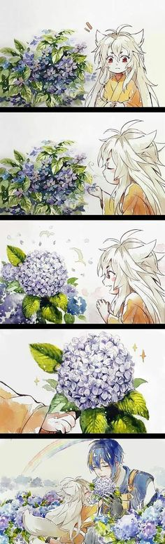 Mikazuki-san, I give this beautiful flowers to you. Please accept it..