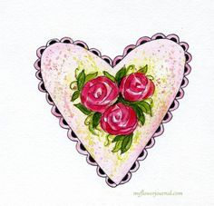 Watercolor Hearts and Roses