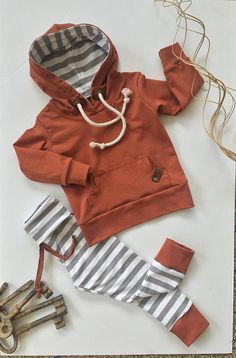 Love matching cotton sets for boys. Striped pants with brown ankle band to match the hoodie. Toddler boy clothes.  Baby/Toddler/Child HOODIE SET Boy/Girl Yoga Band leggings