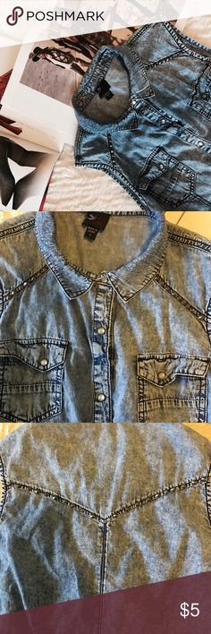 Bebe Studded Denim Top• Button Down Size Large• Some Missing Studs on front Left Side of Shirt• Good Condition• Materials and Washing Details in Last Pic bebe Tops Button Down Shirts