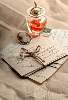 Stock image of 'old letters, postcards and vintage accessories. sentimental nostalgic background'