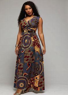 Floor-Length Sleeveless Print Western Roman Cloth Women's Maxi Dress Source by Best African Dresses, Latest African Fashion Dresses, African Print Dresses, African Print Fashion, African Attire, African Print Dress Designs, Shweshwe Dresses, Kitenge, Ankara Maxi Dress