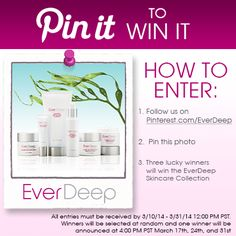 Pin it to Win it: The EverDeep Anti-Aging Skincare Collection! Jennifer Beals' Skincare secret.