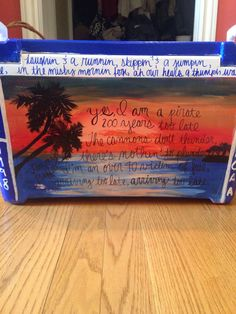"Jimmy Buffett inspired cooler side--includes lyrics from ""A Pirate Looks at 40"""
