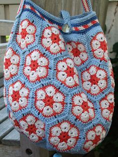red, white and blue crochet bag