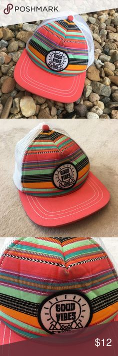 Empyre Maya Good Vibes Trucker Hat Slight ware on the front part of the hat, otherwise EUC. Adjustable back. Accessories Hats