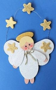 Gold Star Angel Ornament - painted wooden pieces (perhaps also craft foam or felt?)