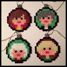 Golden Girls Christmas ornaments (Set of 4) perler beads  by K8BitHero on Etsy