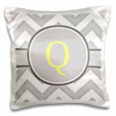 3dRose Grey and white chevron with yellow monogram initial Q, Pillow Case, 16 by 16-inch